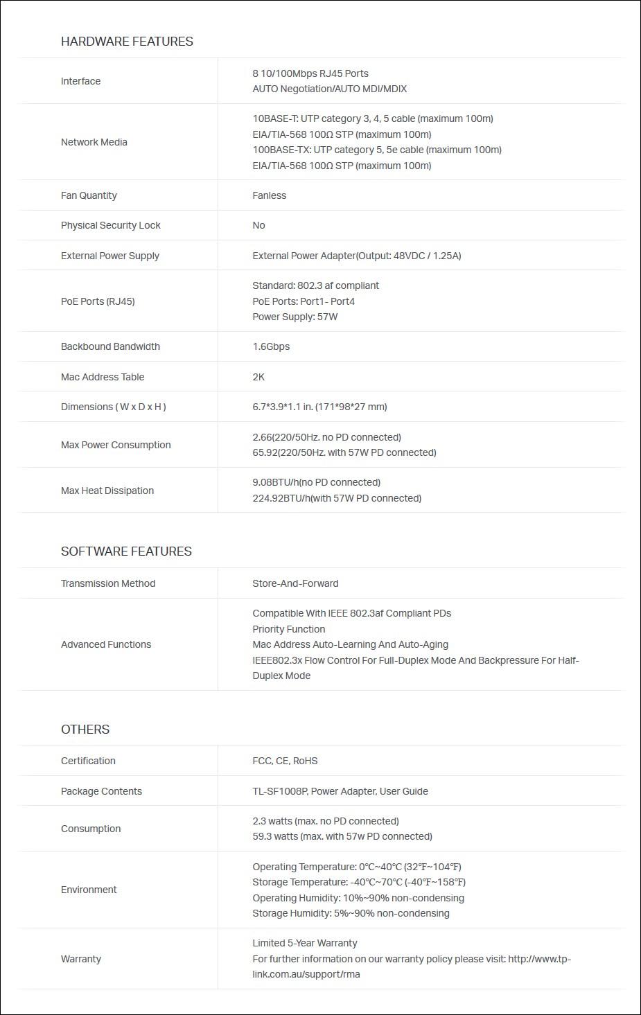 TP-Link TL-SF1008P 8 Port 10/100Mbps Desktop Switch With 4-Port POE - Overview 2