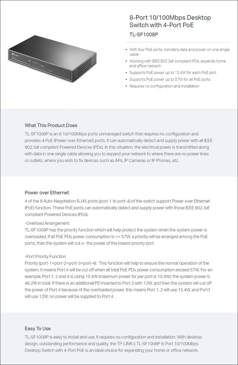 TP-Link TL-SF1008P 8 Port 10/100Mbps Desktop Switch With 4-Port POE - Overview 1