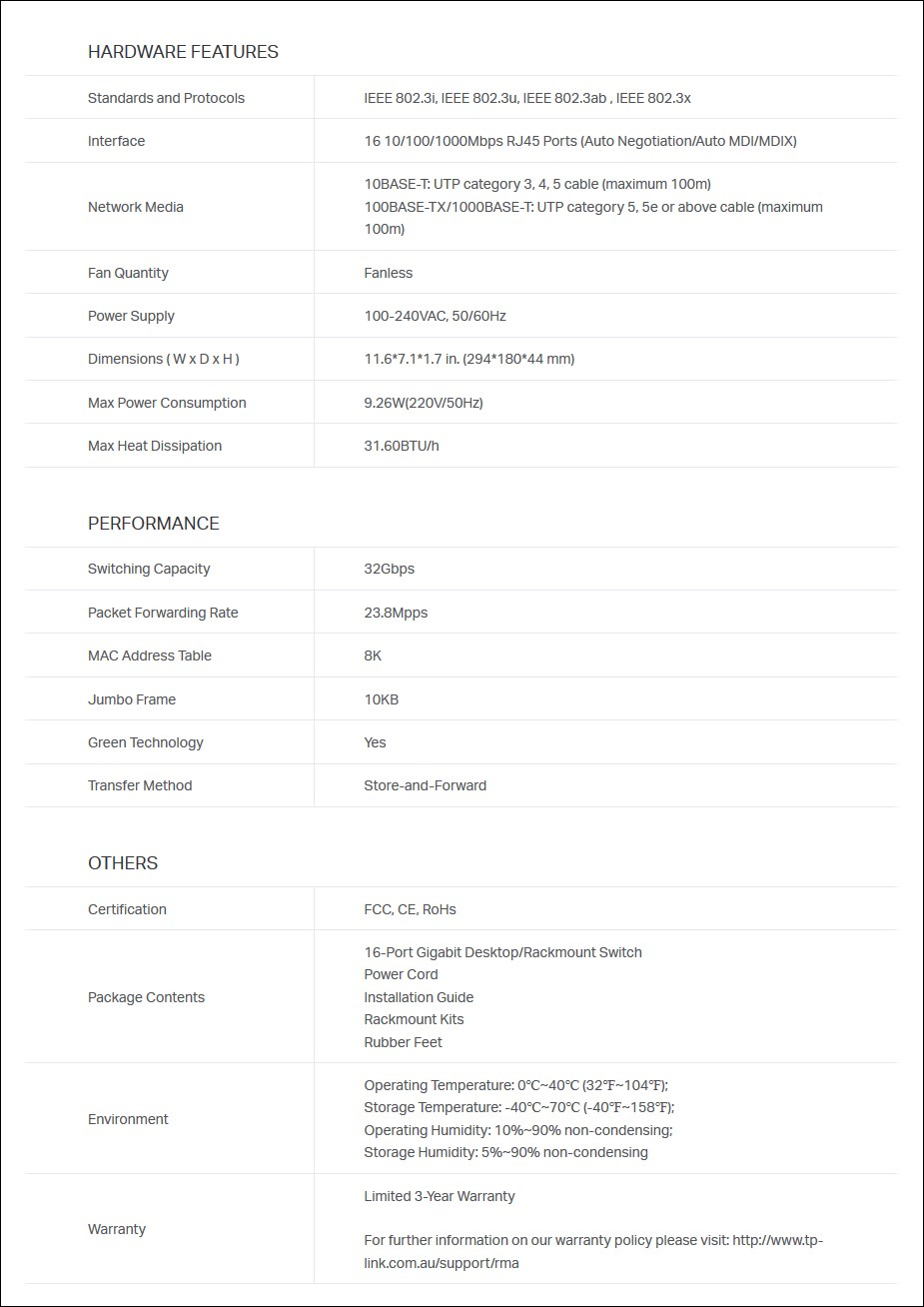 TP-Link TL-SG1016D 16-Port Gigabit Desktop / Rackmount Switch - Metal Housing - Overview 2