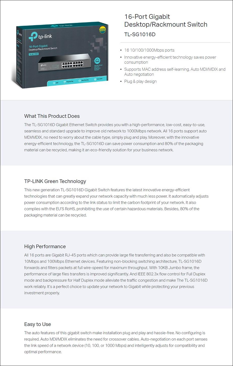 TP-Link TL-SG1016D 16-Port Gigabit Desktop / Rackmount Switch - Metal Housing - Overview 1