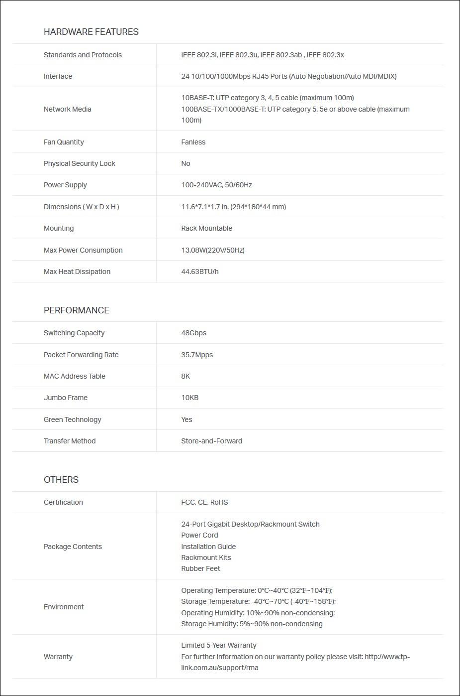 TP-LINK TL-SG1024D 24 Port Gigabit Desktop / Rackmount Switch - Metal Housing - Overview 2