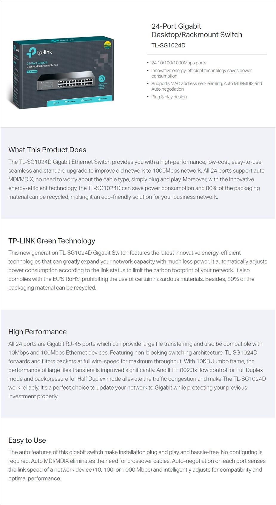 TP-LINK TL-SG1024D 24 Port Gigabit Desktop / Rackmount Switch - Metal Housing - Overview 1