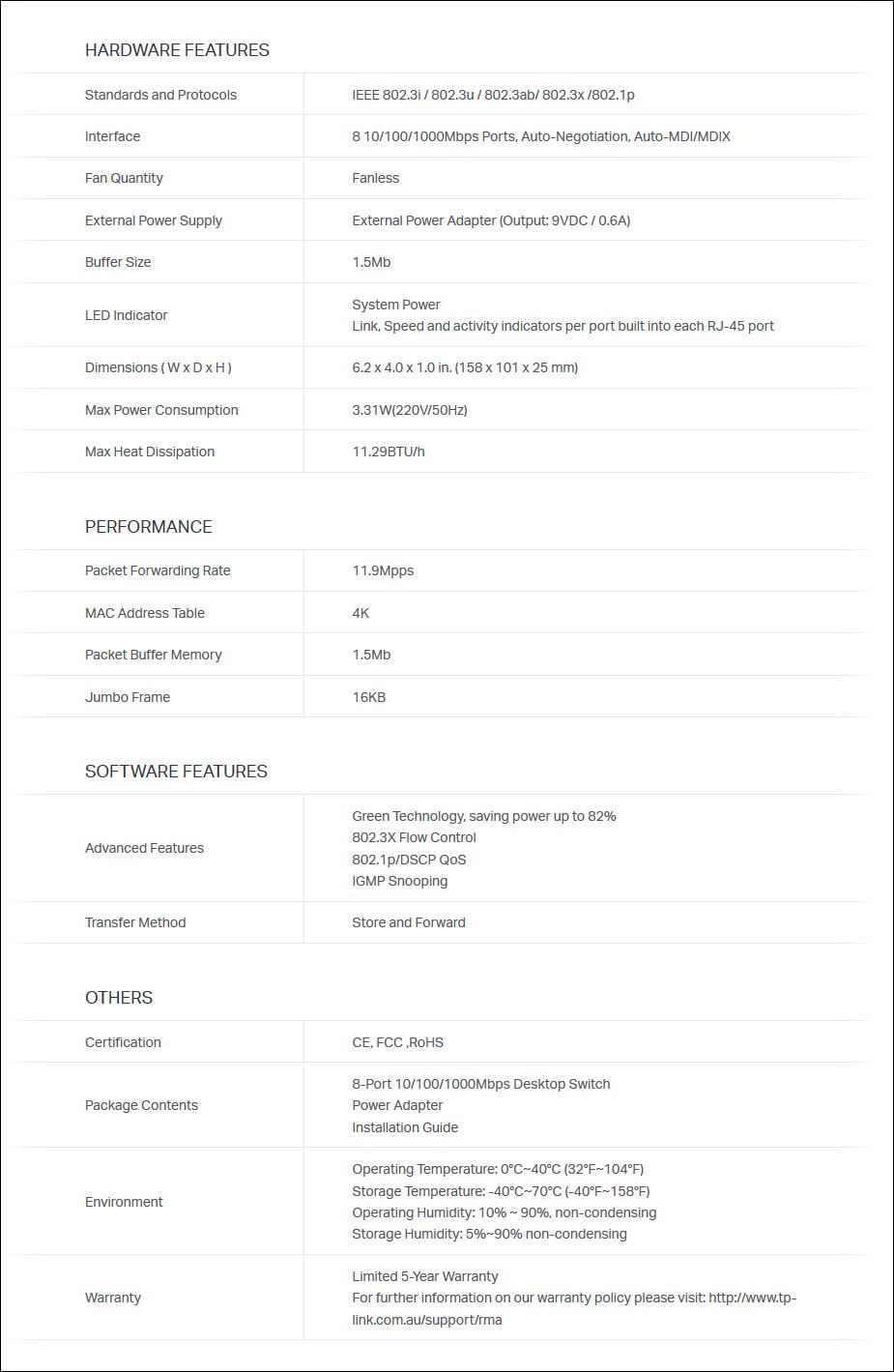TP-LINK TL-SG108 8 Port Gigabit Desktop Switch - Metal Housing - Overview 2