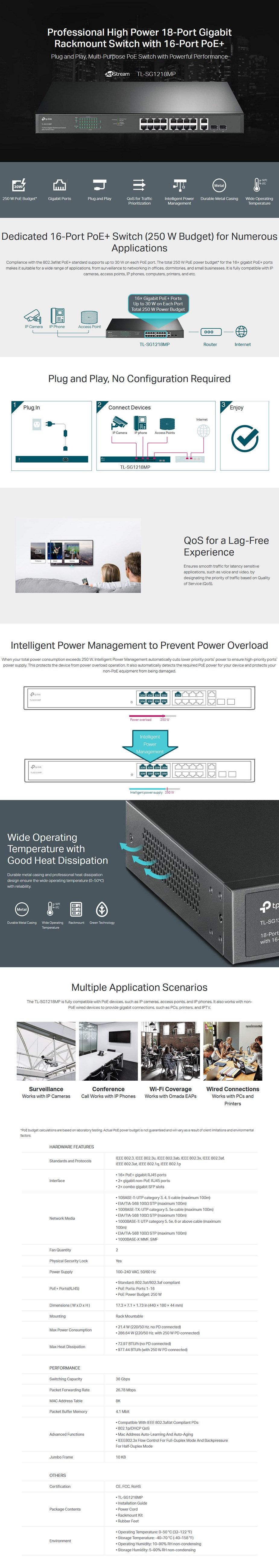 TP-Link TL-SG1218MP 18-Port Gigabit Rackmount Switch with PoE+ - Overview 1