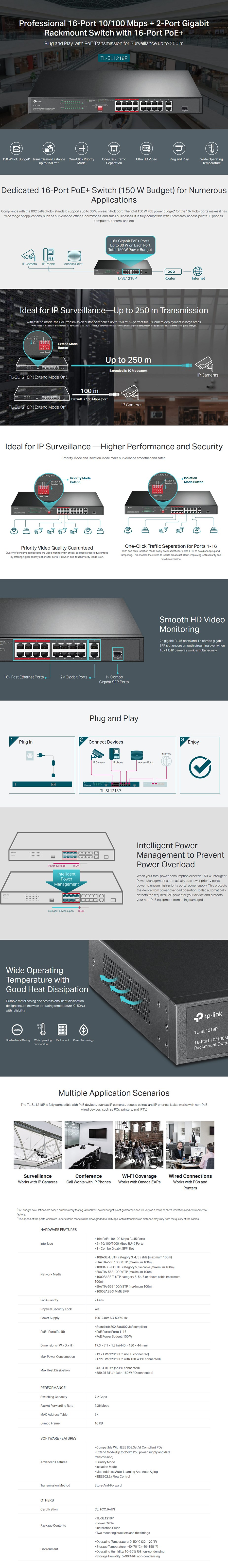 TP-Link TL-SL1218P 16-Port 10/100 Mbps + 2-Port Gigabit Rackmount Switch w/PoE+ - Overview 1