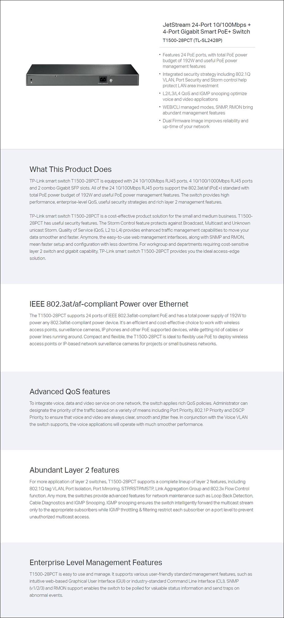 TP-Link TL-SL2428P 24-Port 10/100Mbps + 4-Port Gigabit Smart PoE+ Switch - Overview 1