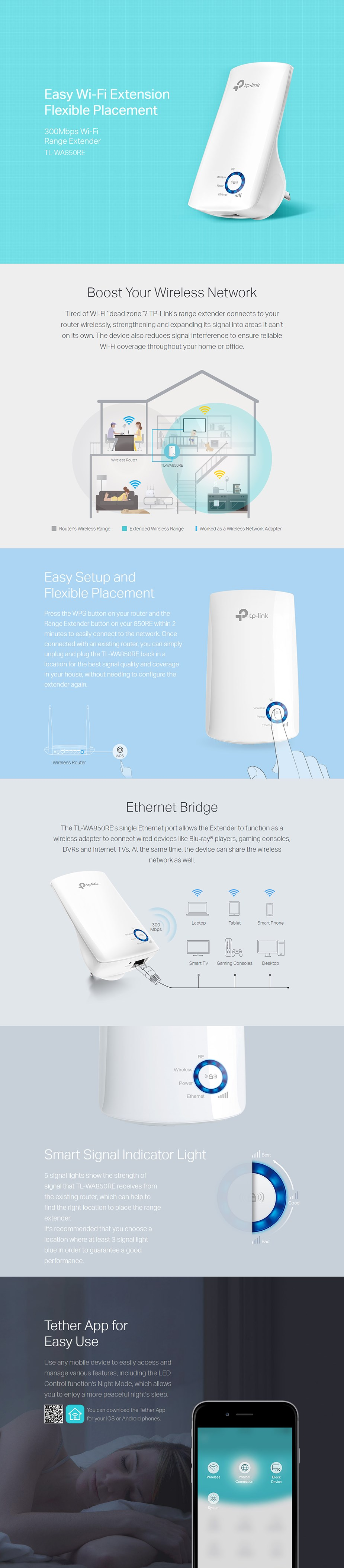 TP-Link TL-WA850RE 300Mbps Universal WiFi Range Extender - Overview 1