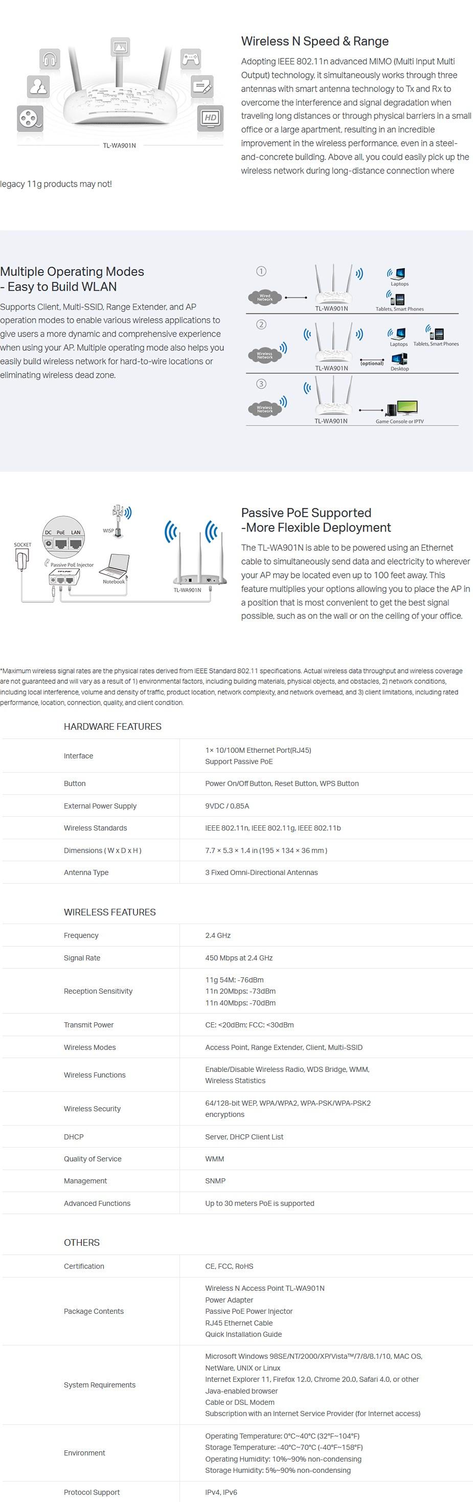 TP-Link TL-WA901N 450Mbps Wireless N Access Point - Desktop Overview 1