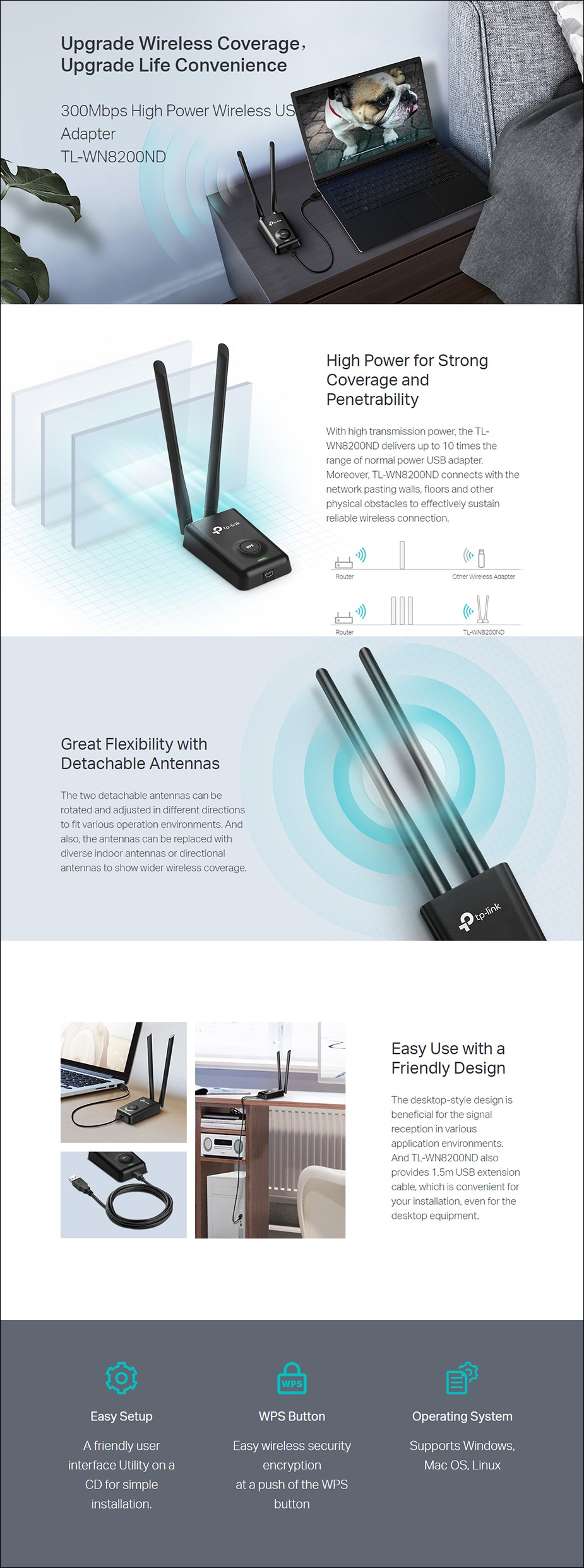 TP-Link TL-WN8200ND 300Mbps High Power Wireless USB Adapter with 5dBi Antenna - Overview 1