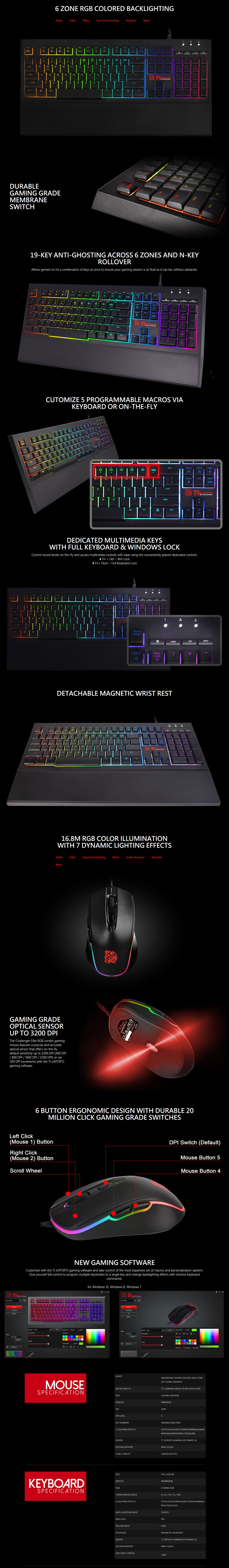Tt eSPORTS Challenger Elite RGB Keyboard and Mouse Combo