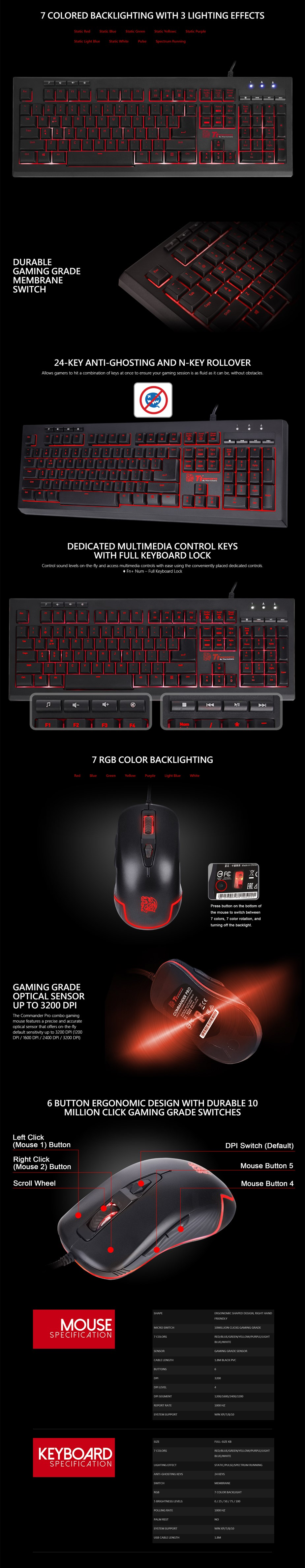 Tt eSPORTS Commander Pro Gaming Keyboard and Mouse Combo - Overview 1