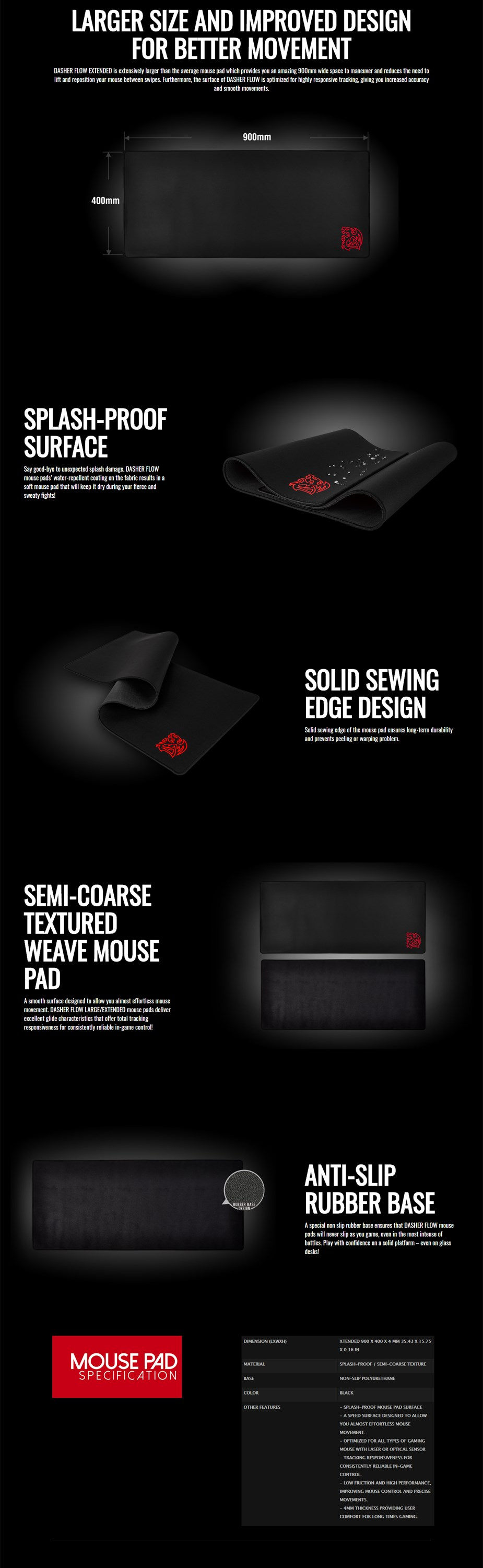 Tt eSPORTS Dasher Flow Extended Gaming Mouse Pad - Overview 1