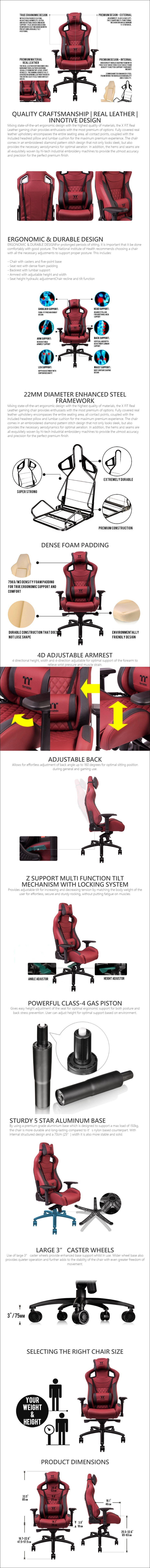 Tt eSPORTS TT Premium X Fit Series Real Leather Gaming Chair - Burgundy Red - Overview 1