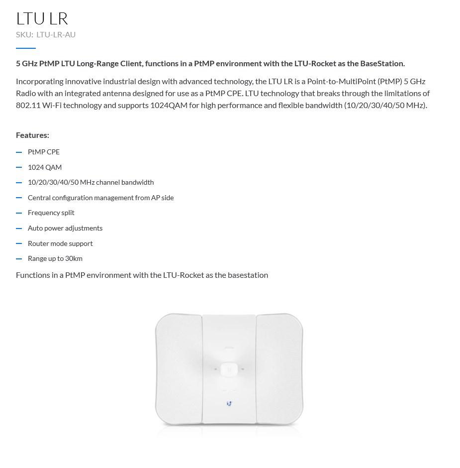 Ubiquiti LTU-LR Point-to-MultiPoint 5GHz Long-Range Client Radio - Overview 1