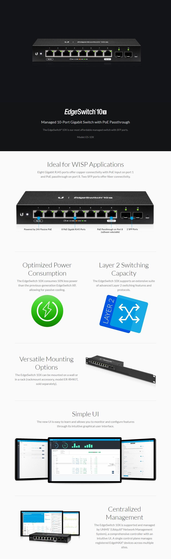 Ubiquiti Networks EdgeSwitch 10x Managed 8-Port Gigabit Switch with PoE - Overview 1