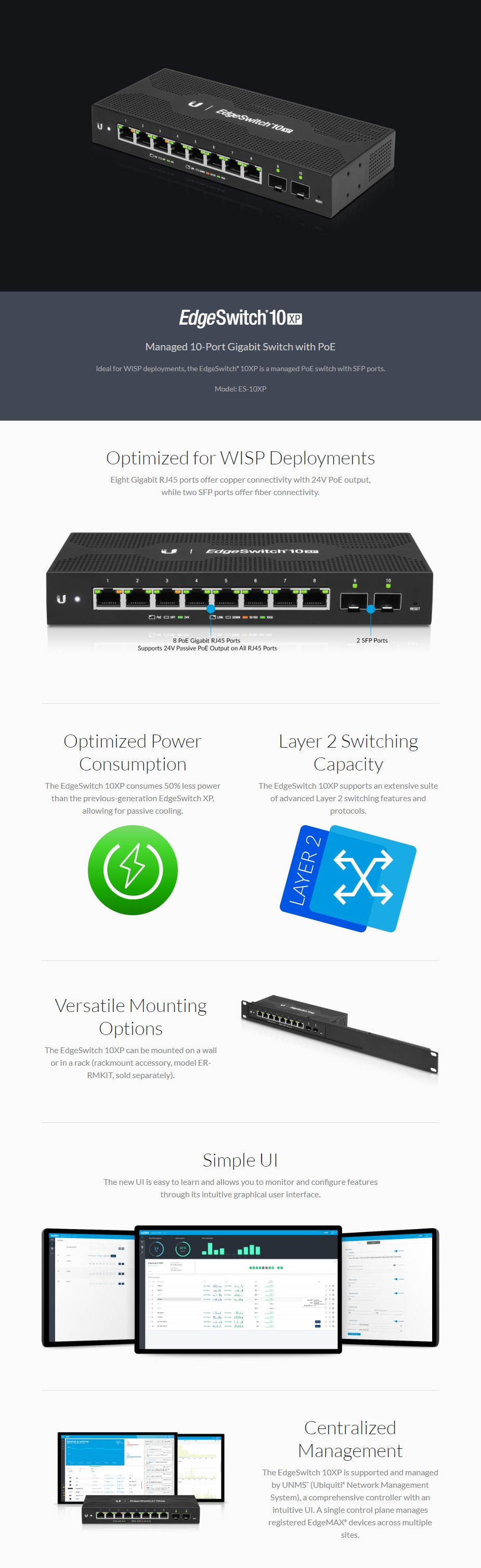 Ubiquiti Networks EdgeSwitch 10xp Managed 8-Port+2SFP Gigabit Switch with PoE - Overview 1