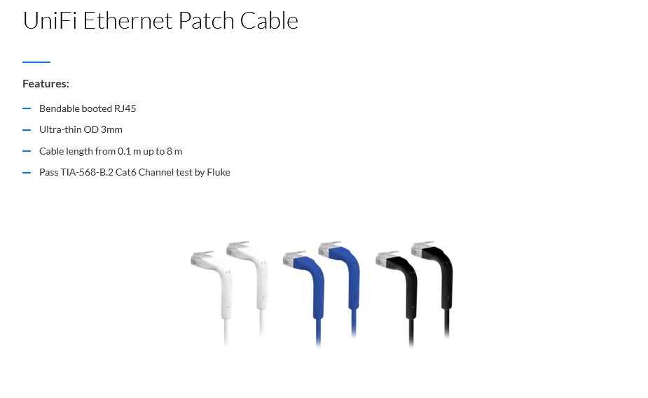Ubiquiti Networks UniFi 1m CAT6 Bendable Ends Ethernet Patch Cable - Blue - Overview 1