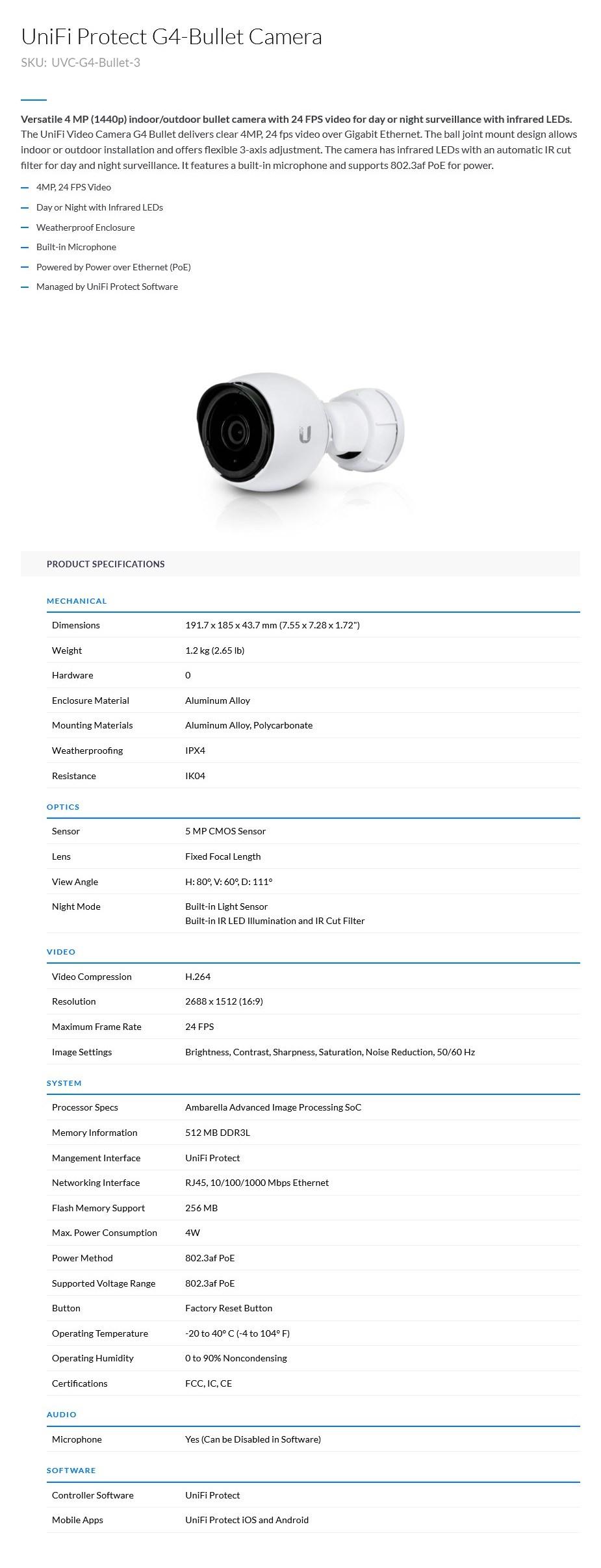 Ubiquiti Networks UniFi UVC-G4-Bullet 1440p QHD IP Surveillance Camera - 3 Pack - Desktop Overview 1