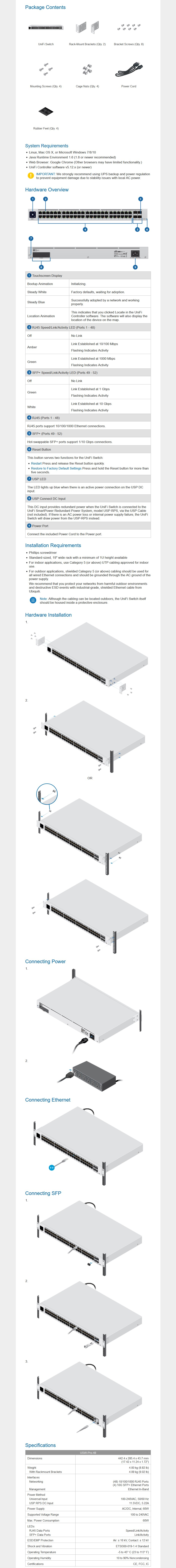 Ubiquiti Networks USW-48-PRO 48 Port Managed Gen2 Gigabit Switch - Touch Display - Overview 1