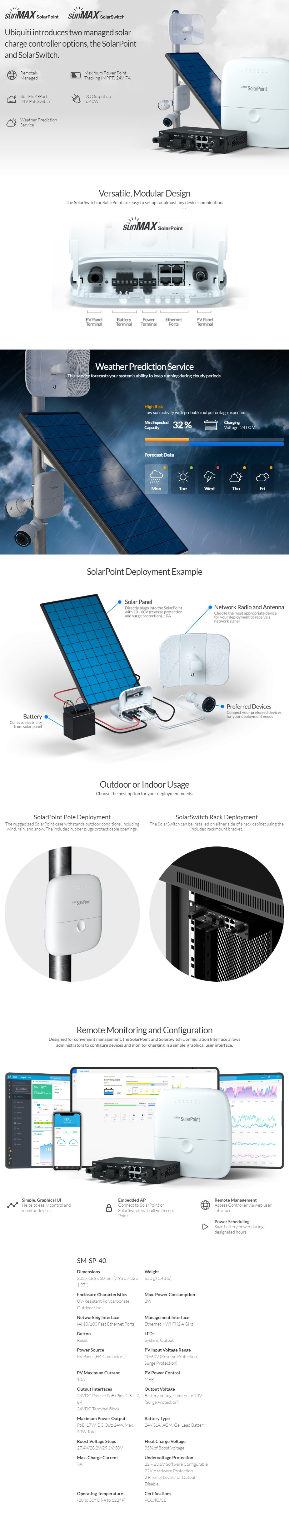 Ubiquiti SunMAX SolarPoint Managed Charge Controller - Outdoor - Overview 1