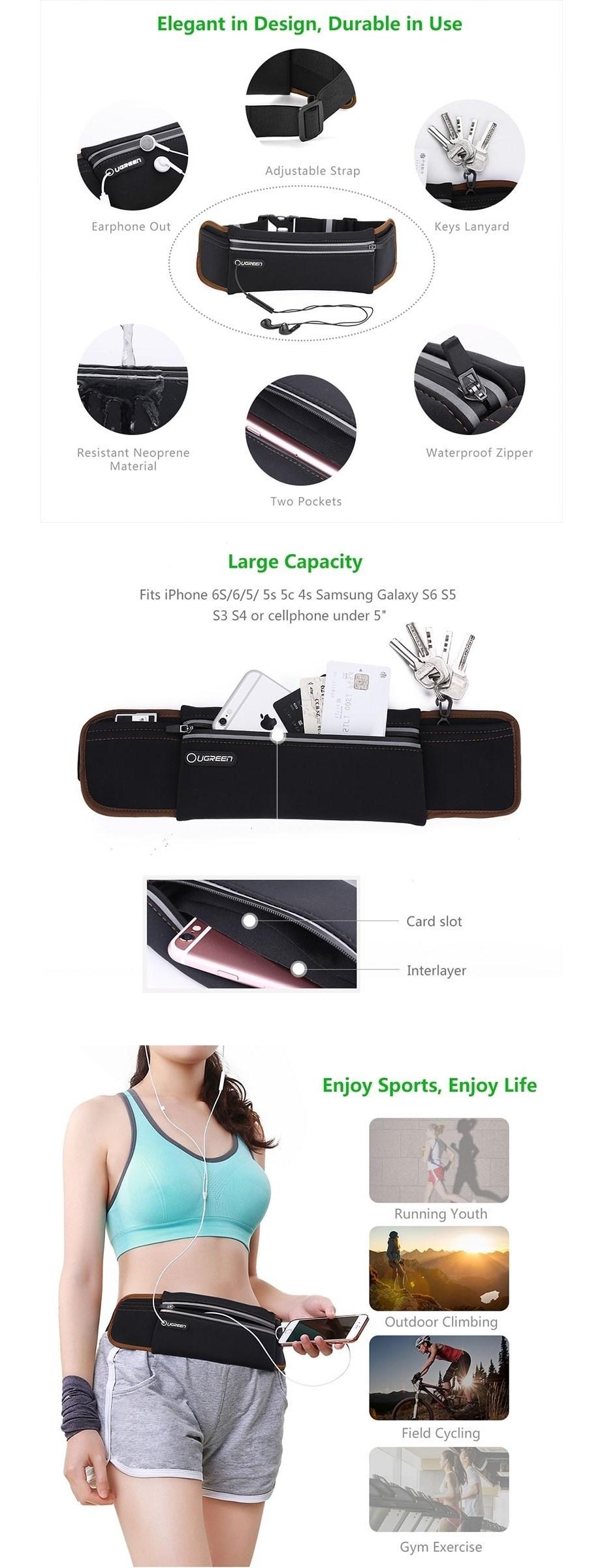 Ugreen 20818 Sport Running Waist Pack Waterproof Belt - Black - Overview 1