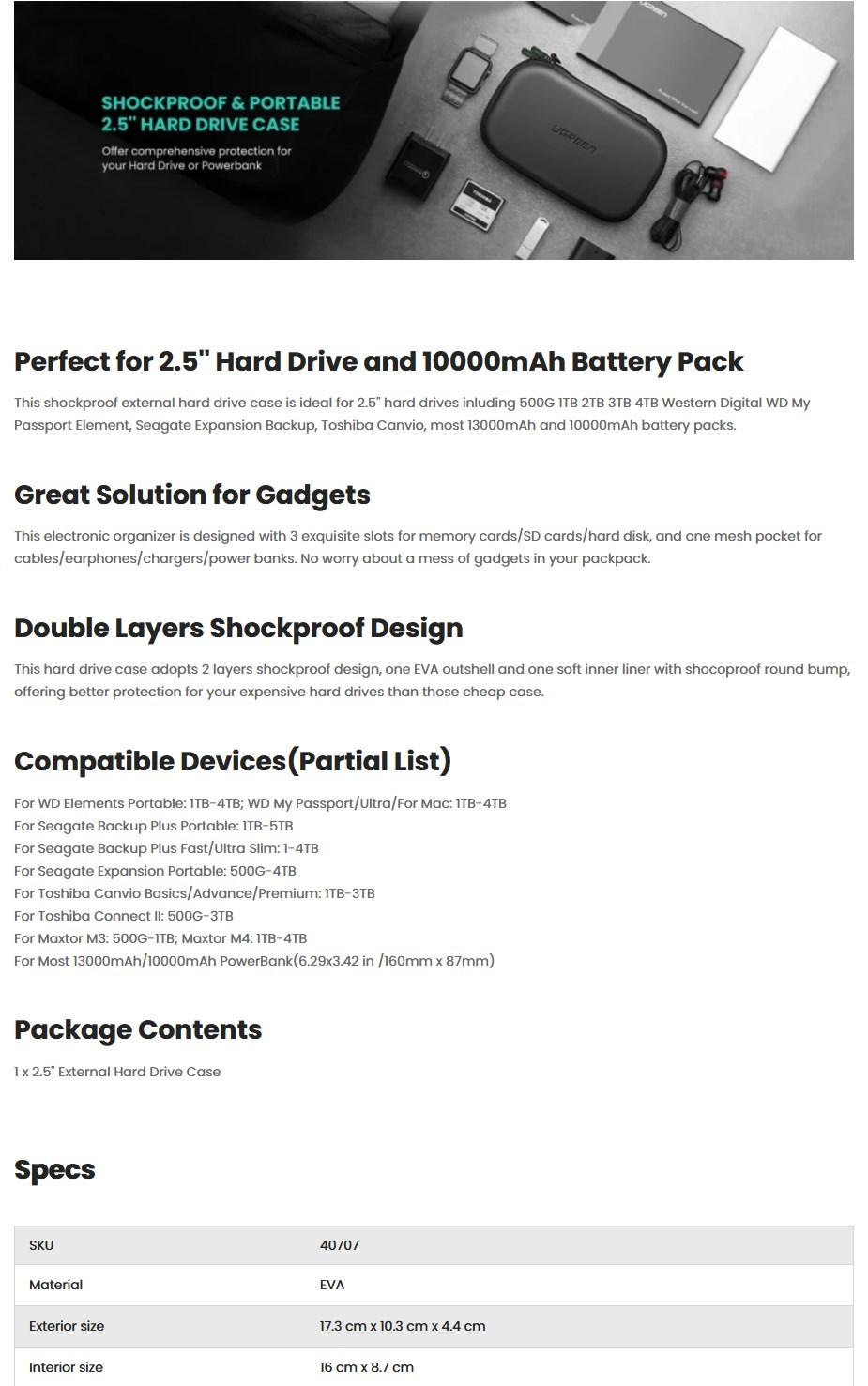 Ugreen 40707 Hard Disk Small Storage Bag - Black - Overview 1