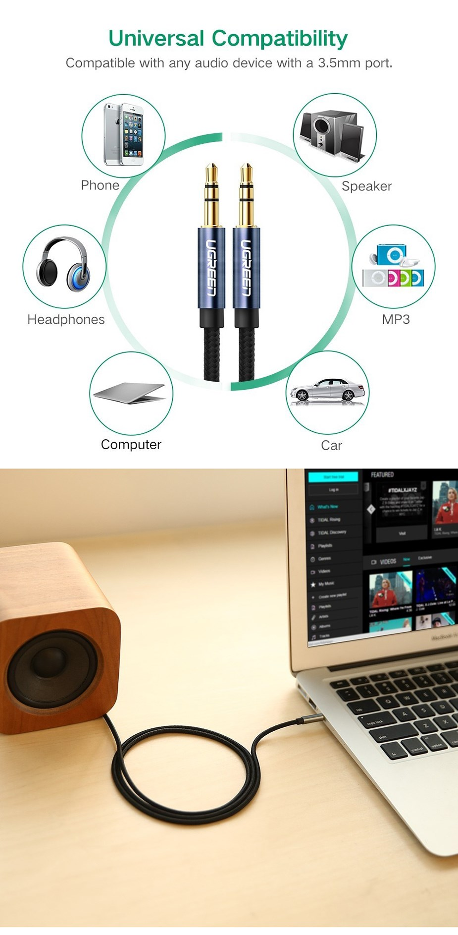 Ugreen 50368 2m 3.5mm Male to 3.5mm Male Audio Cable - Overview 1