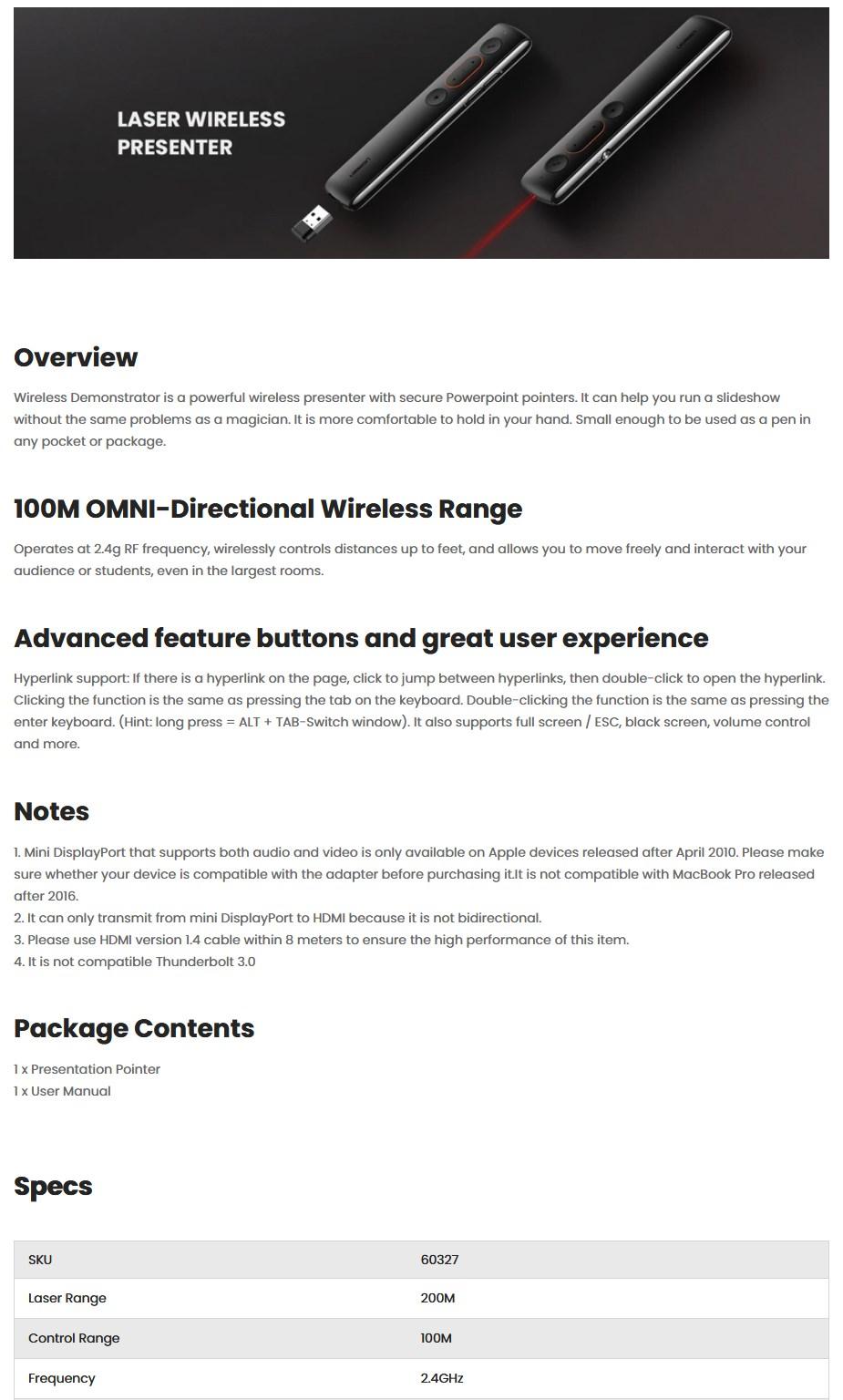 Ugreen 60327 Laser Projection/Flip Pen - Black - Overview 1