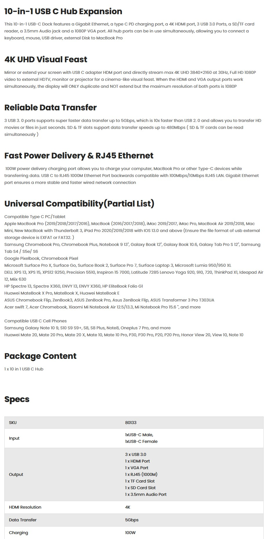 Ugreen 80133 USB-C 10-in-1 Hub Expansion - Overview 1