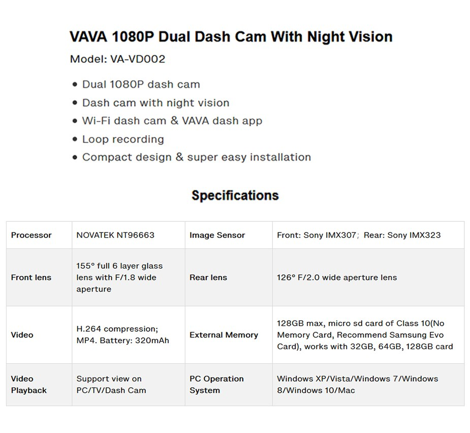 VAVA 1080P Dual Dash Cam With Night Vision - Overview 1