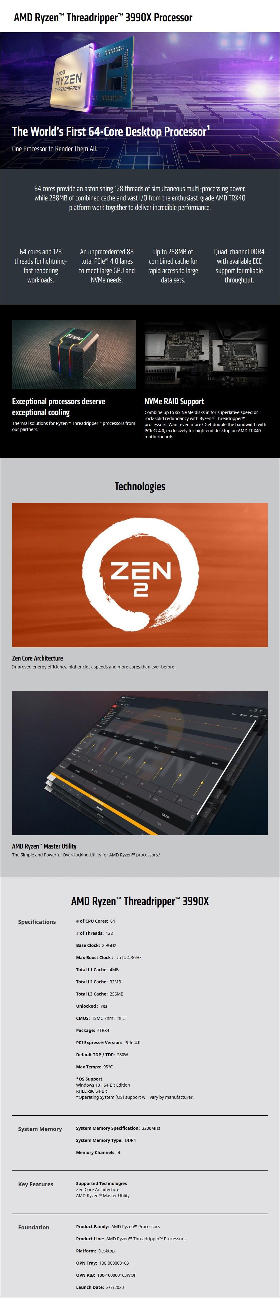 AMD Ryzen Threadripper 3990X 64-Core Socket sTRX4 2.90GHz Unlocked CPU Processor - Overview 1