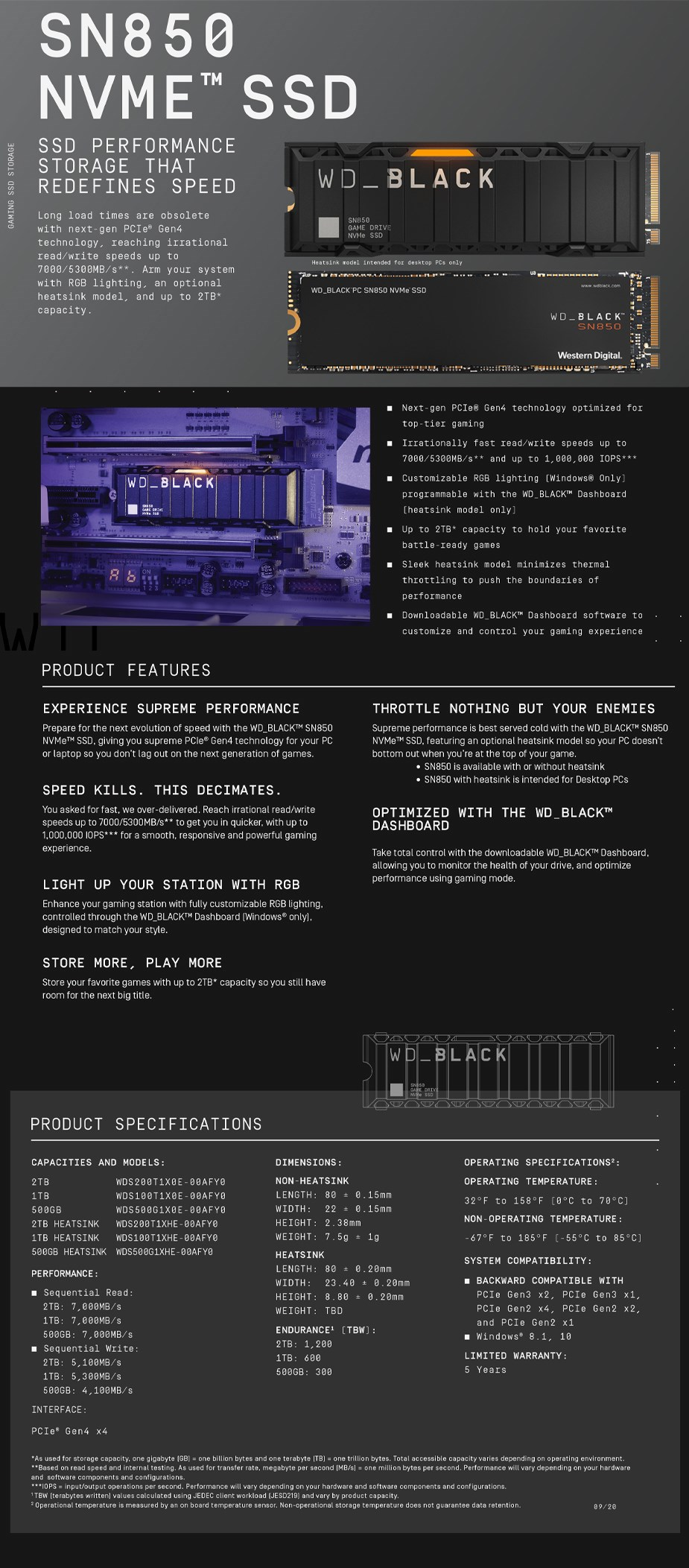 WD Black SN850 WDS200T1X0E 2TB NVMe M.2 PCIe Gen4 x4 SSD - Without Heatsink - Overview 1