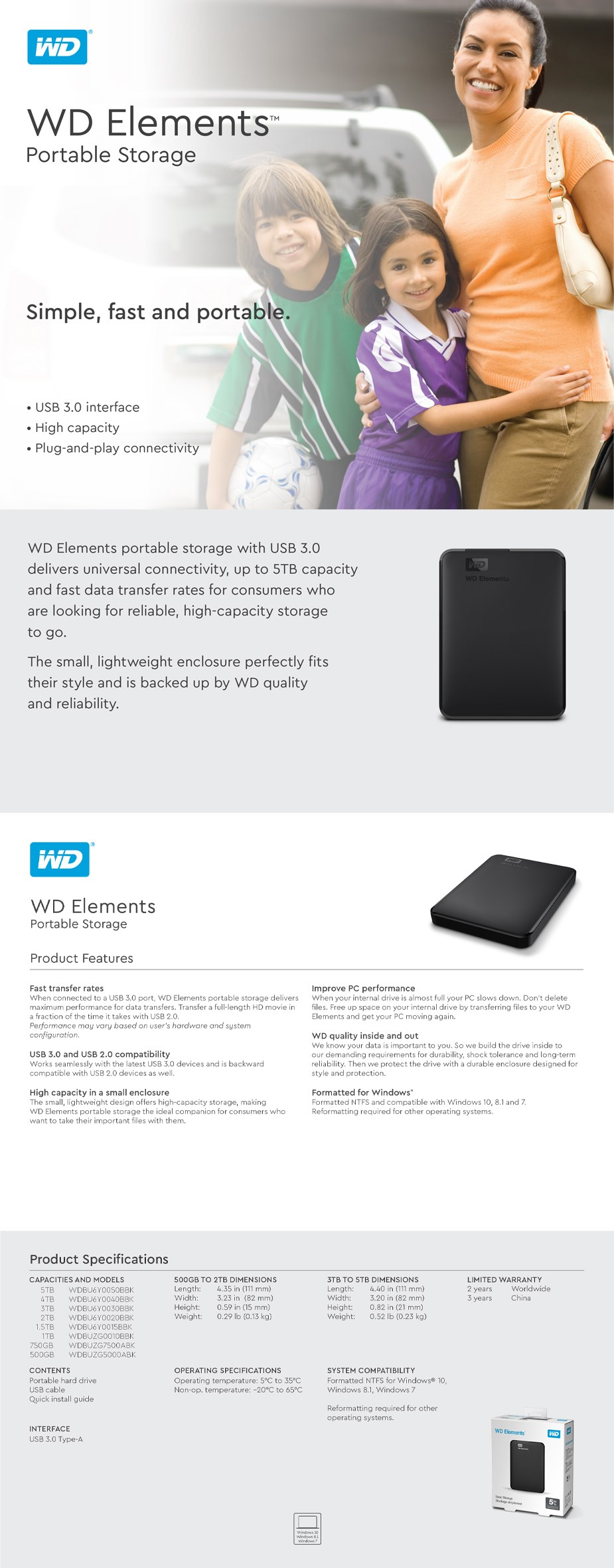 WD Elements USB 3.0 Portable External Hard Drive Series - Overview 1