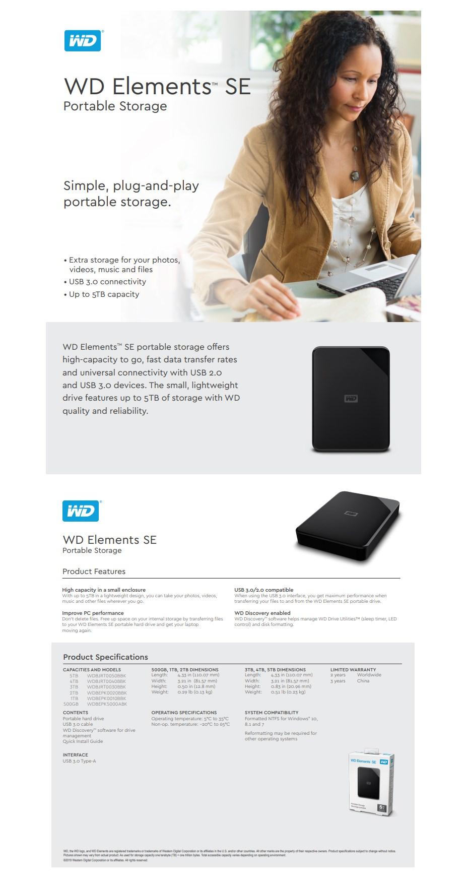 WD Elements SE 3TB USB 3.0 Portable External Hard Drive WDBU6Y0030BBK-WESN - Overview 1