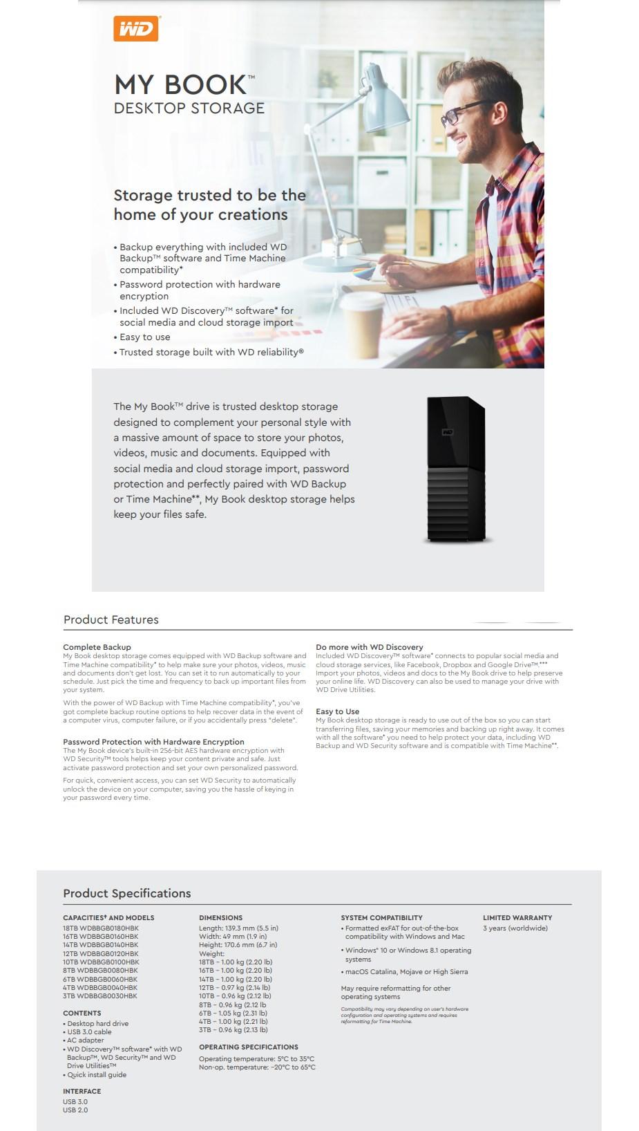 WD My Book 12TB USB 3.0 External Desktop Hard Drive WDBBGB0120HBK-AESN - Overview 1