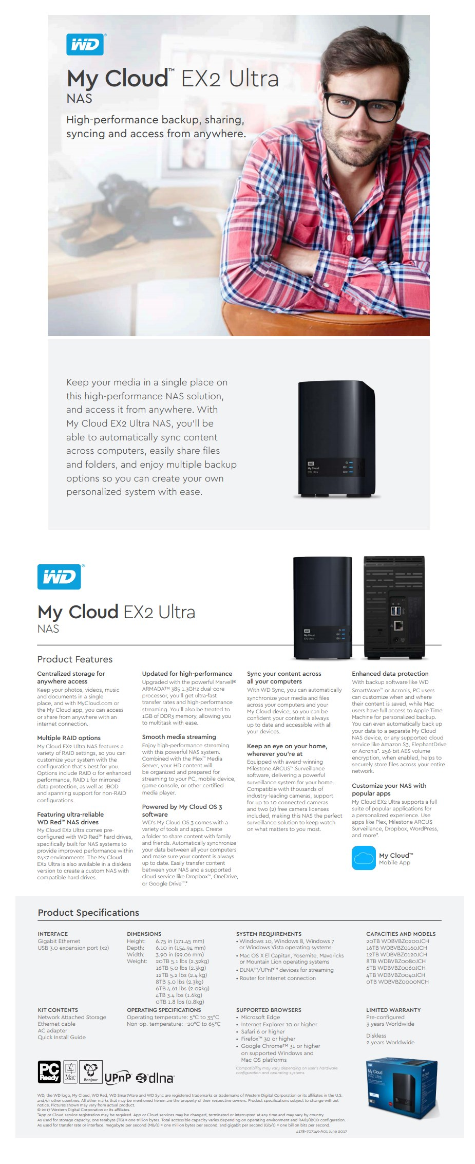 WD My Cloud EX2 Ultra 2-Bay 8TB Hotswap Diskless NAS 1.3GHz Dual-Core 1GB RAM - Overview 1