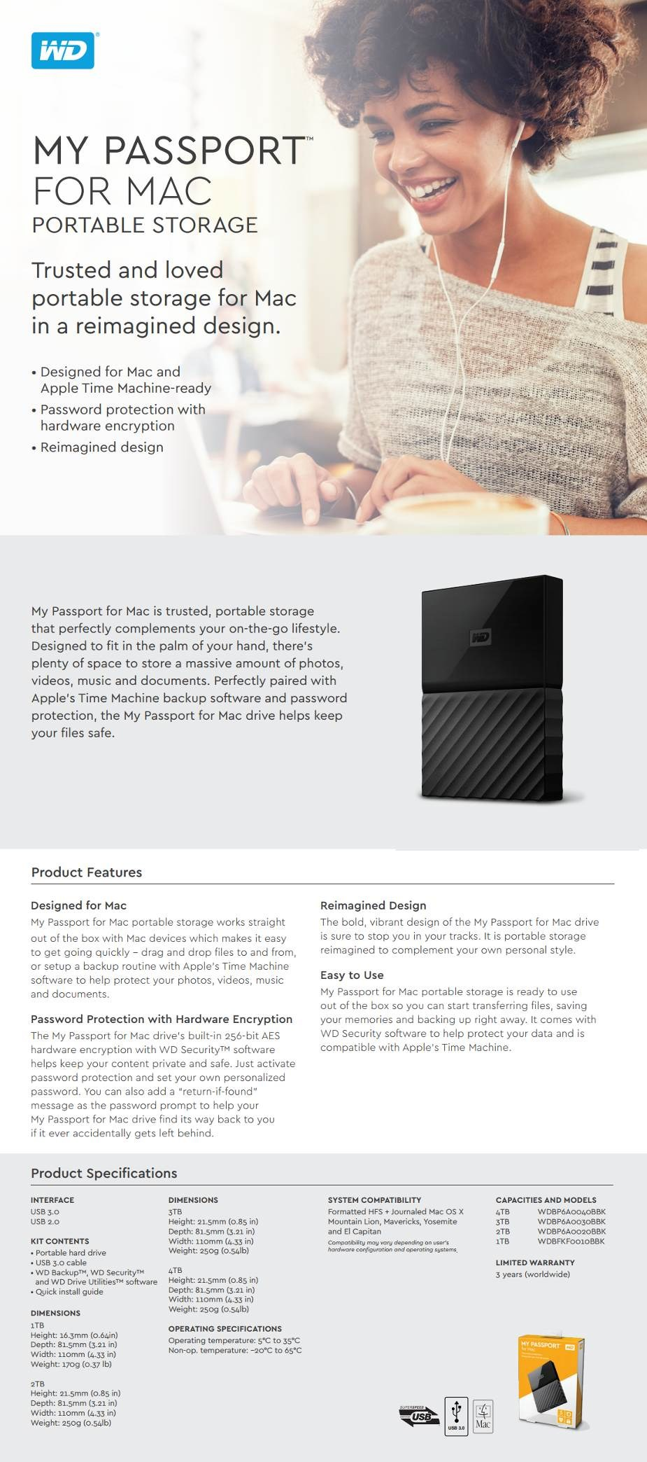 WD My Passport 3TB USB 3.0 Portable Storage for MAC WDBP6A0030BBK - Overview 1