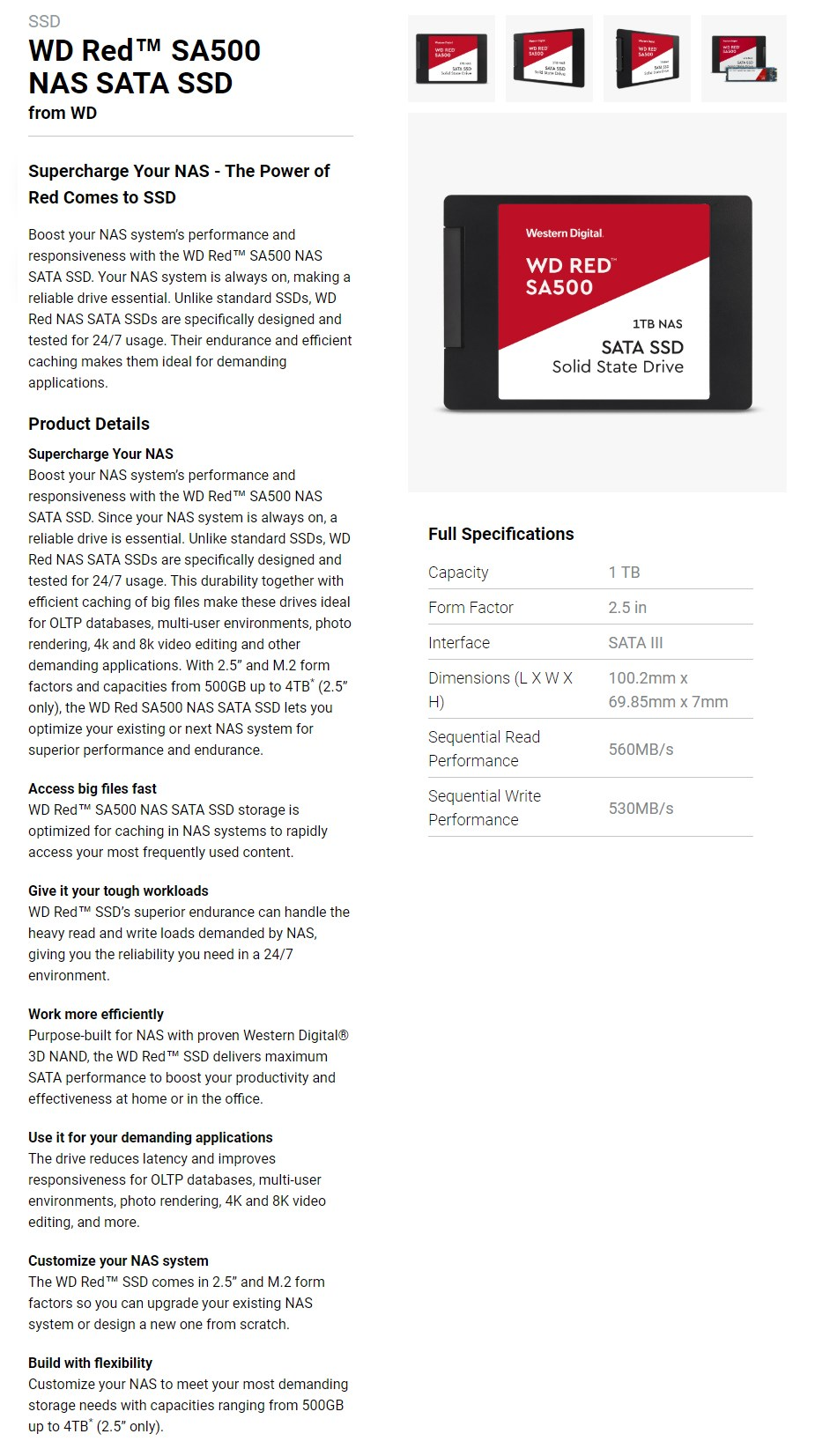 """WD Red 1TB 2.5"""" NAS SATA SSD WDS100T1R0A - Overview 1"""