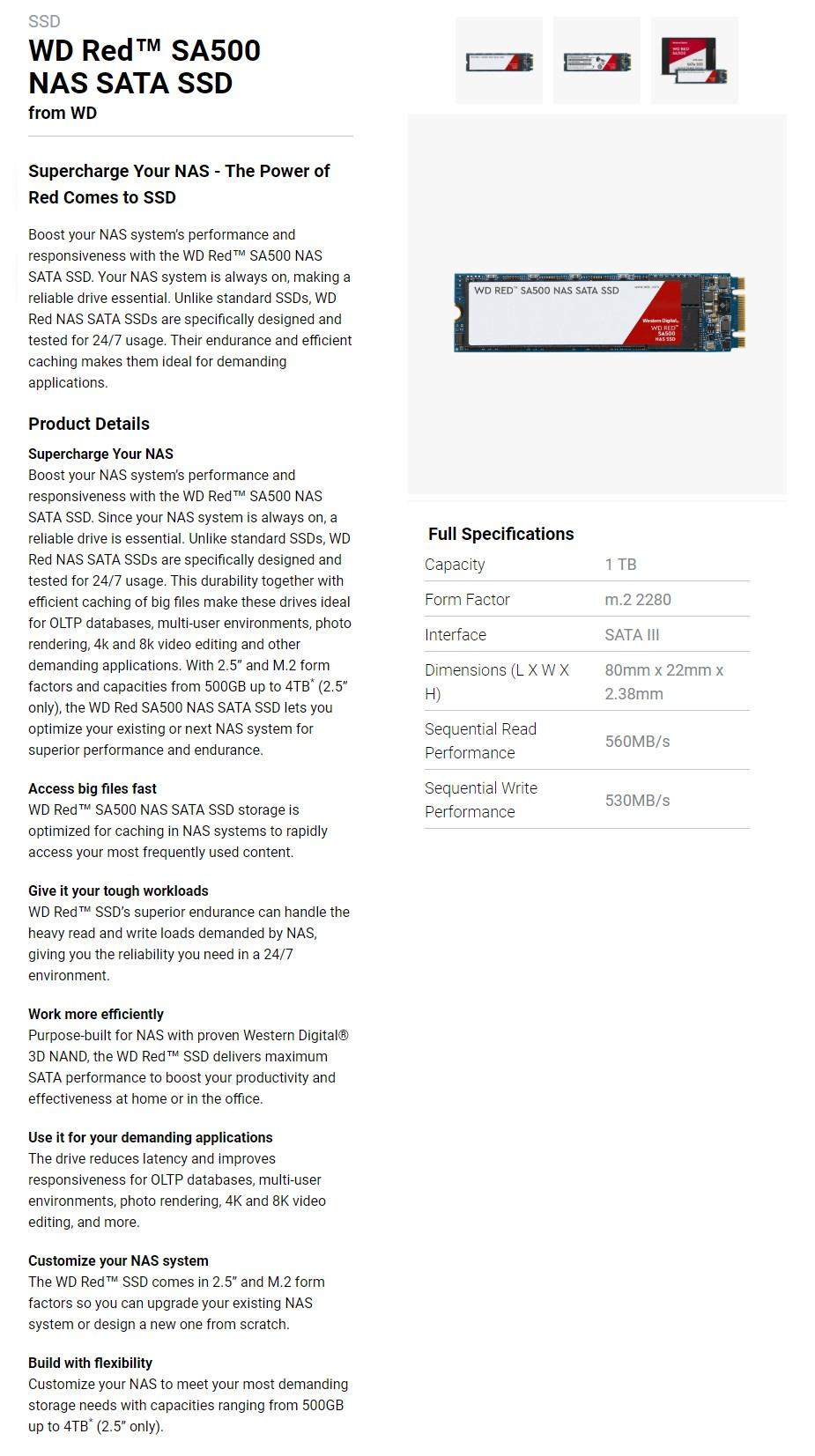 WD Red 1TB m.2 2280 SA500 NAS SATA SSD WDS100T1R0B - Overview 1