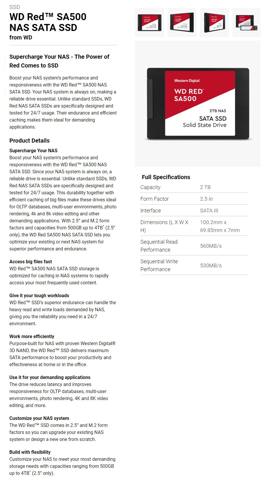 """WD Red 2TB 2.5"""" NAS SATA SSD WDS200T1R0A - Overview 1"""