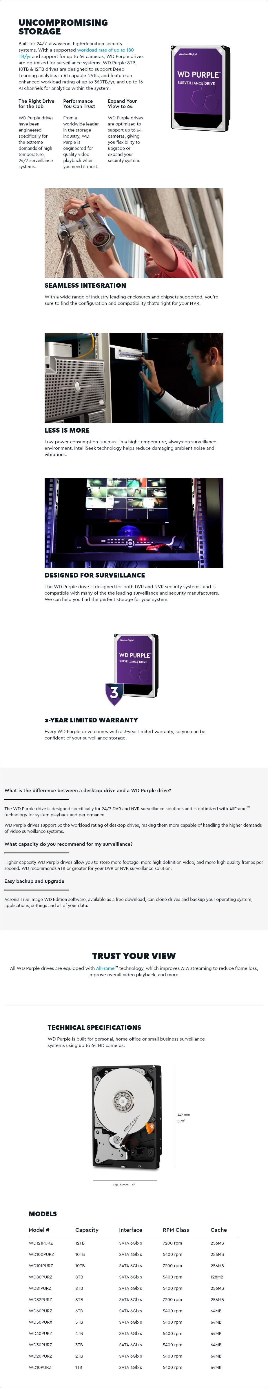 "WD WD82PURZ 8TB Purple 3.5"" SATA3 Surveillance Hard Driv - Overview 1"