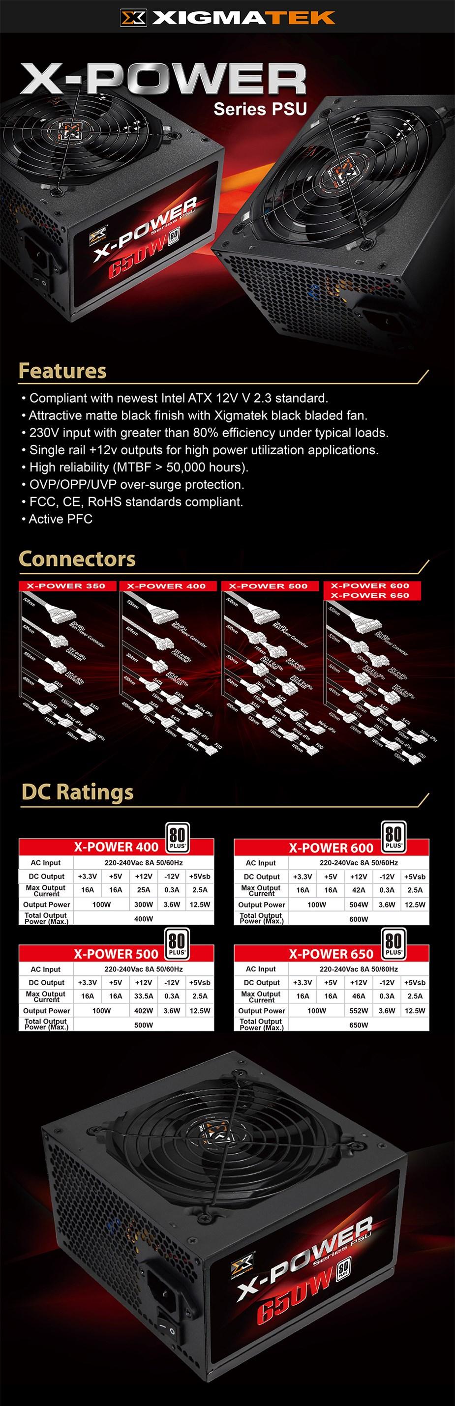 Xigmatek X-Power 500W 80+ Non-Modular Power Supply - Overview 1