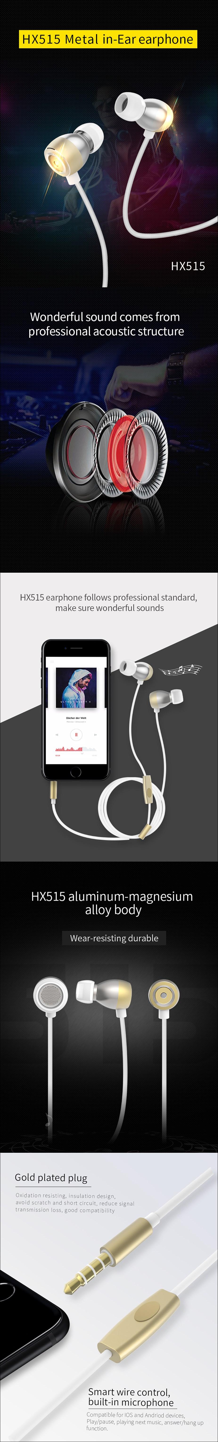 XiPin HX515 In-Ear Headphones - Silver - Overview 1
