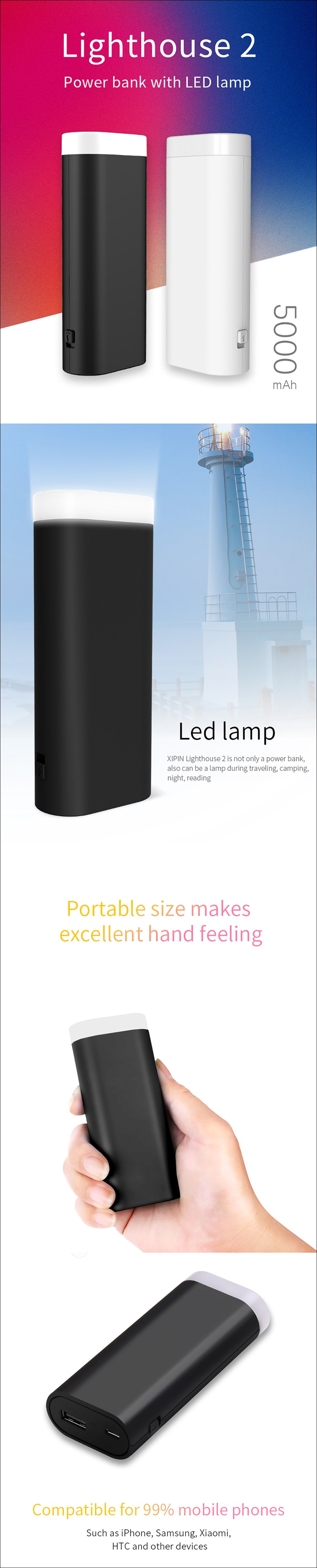 XiPin Light House 2 5000mAh USB Portable Power Bank - Black - Overview 1