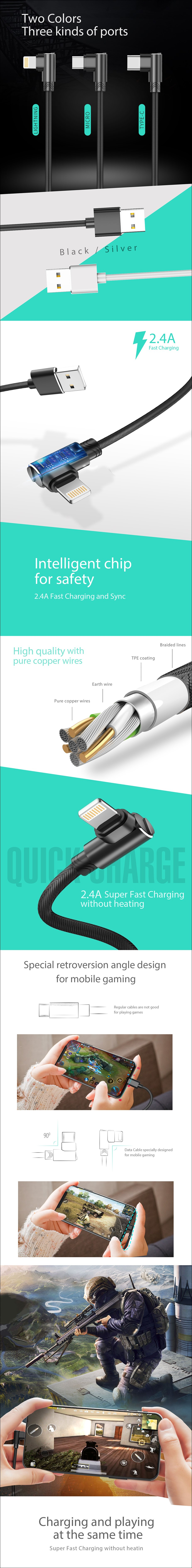 XiPin LX17 1.2m Nylon Braided Charging Cable - USB Type-C - Overview 1