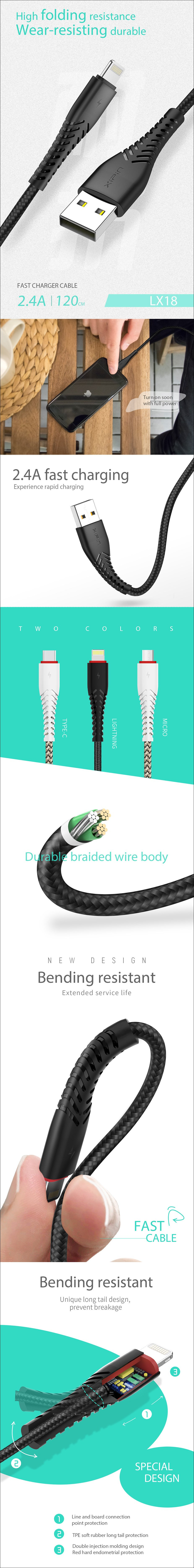 XiPin LX18 1.2m Fabric Braided Charging Cable - USB Type-C - Overview 1