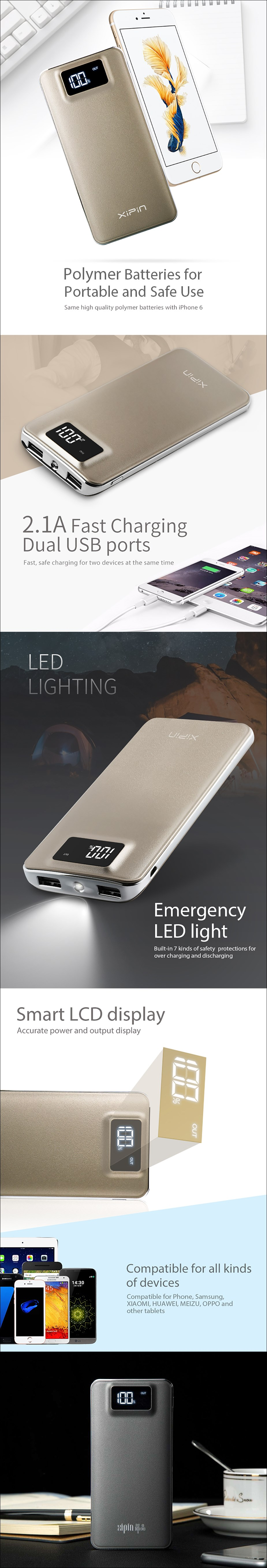 XiPin S12 11000mAh Dual USB Power Bank with LCD Display - Grey - Overview 1