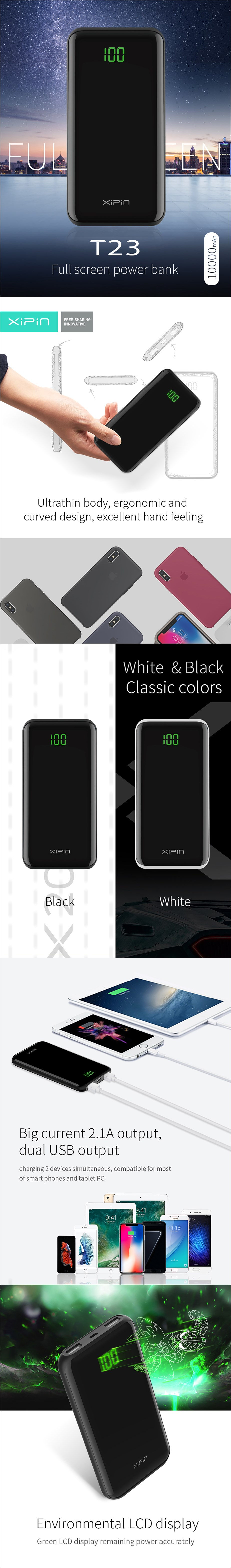 XiPin T23 10000mAh Dual USB Portable Power Bank with LCD Display - Black - Overview 1