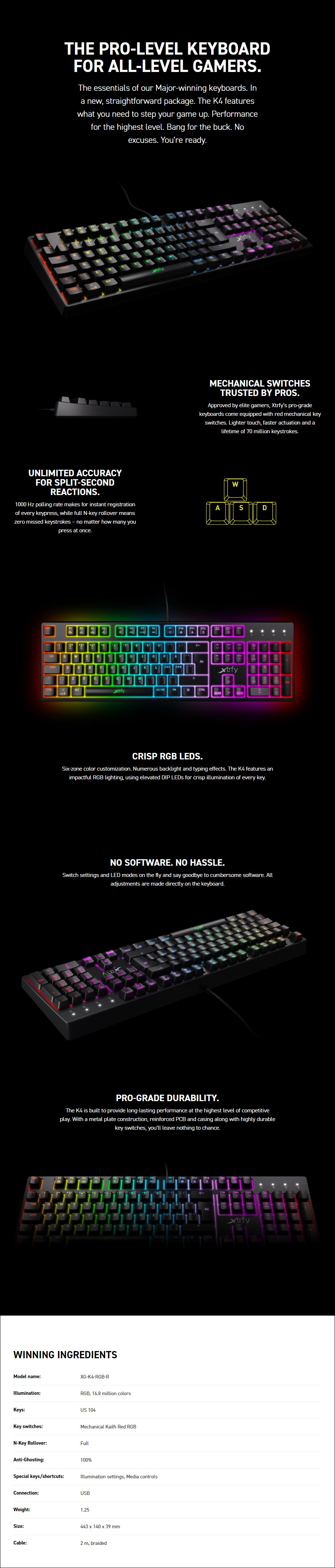 Xtrfy K4 RGB Mechanical Gaming Keyboard - Kailh Red Switches - Overview 1