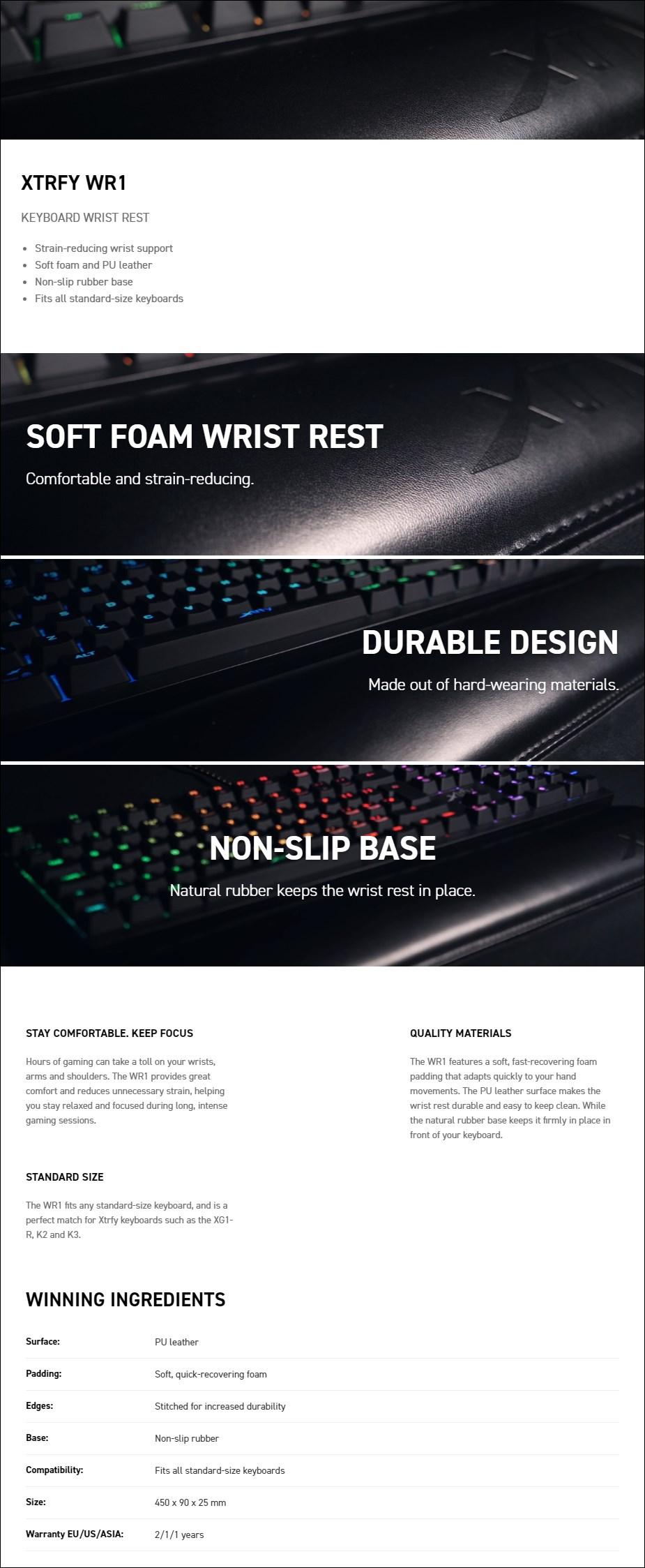 Xtrfy WR1 Leather Keyboard Wrist Rest - Overview 1